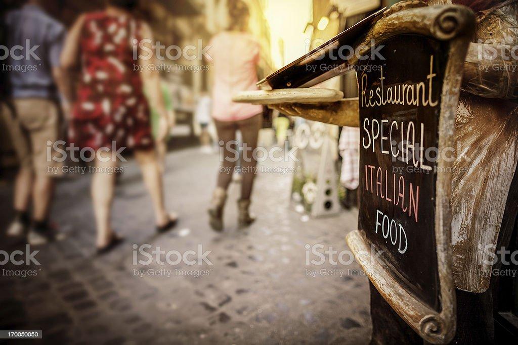 Restaurant on the Street in Rome: Italian Food royalty-free stock photo
