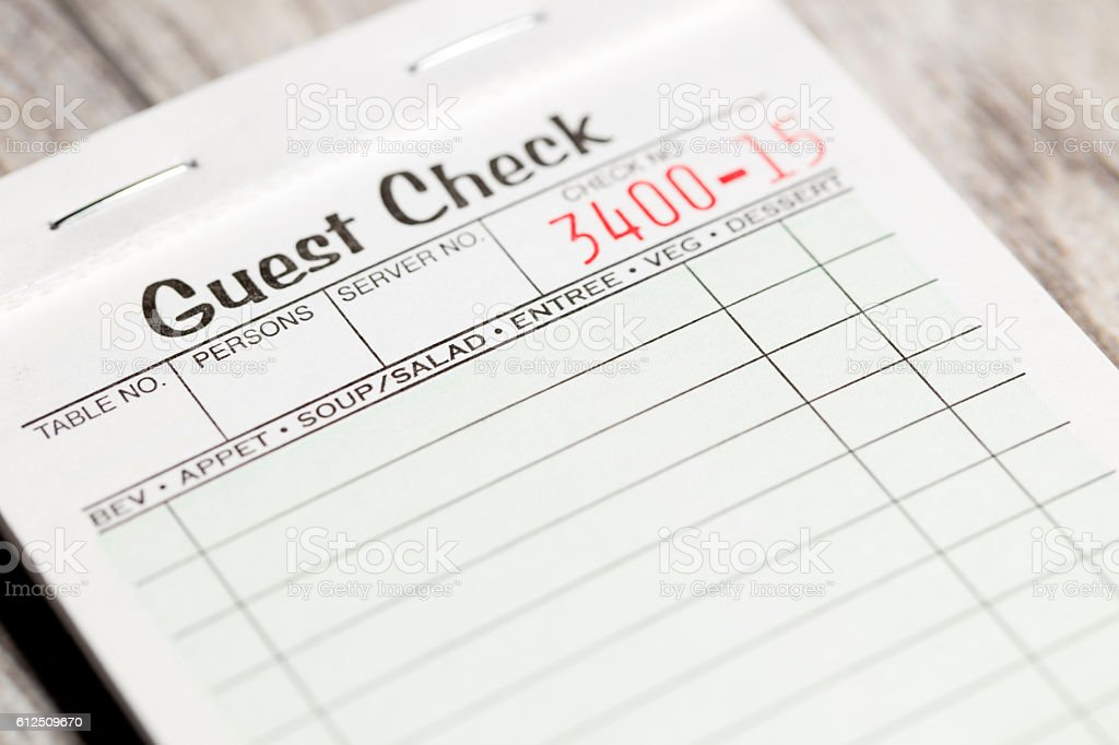 Restaurant Order Ticket stock photo