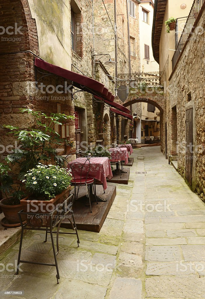 Restaurant Outdoor, Chianti Region, Tuscany stock photo