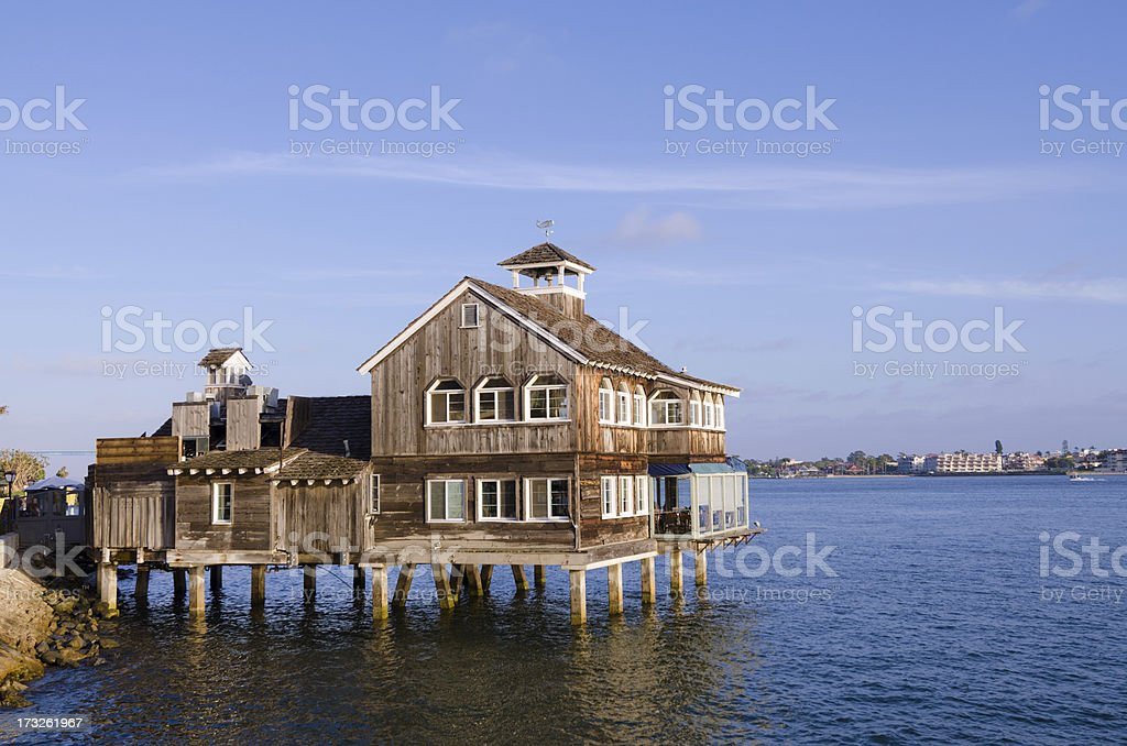 Restaurant over water at Seaport Village in San Diego, CA royalty-free stock photo
