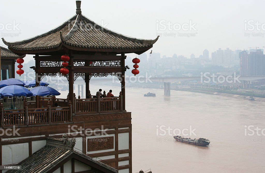 Restaurant overlooking Chongqing harbour royalty-free stock photo