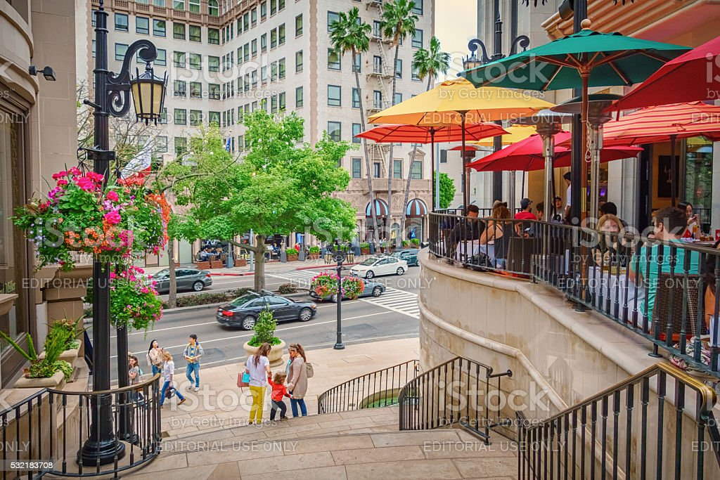 Restaurant Patio with People in Beverly Hills Los Angeles California stock photo