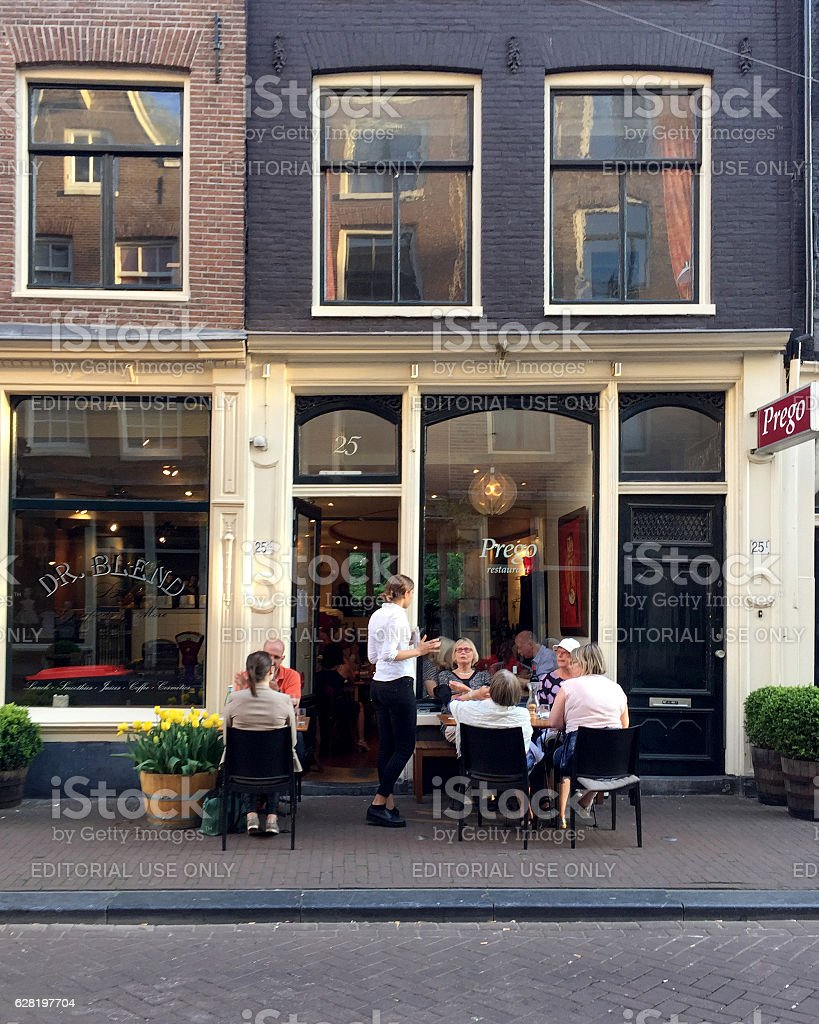 Restaurant Prego in Nine streets district of Amesterdam stock photo
