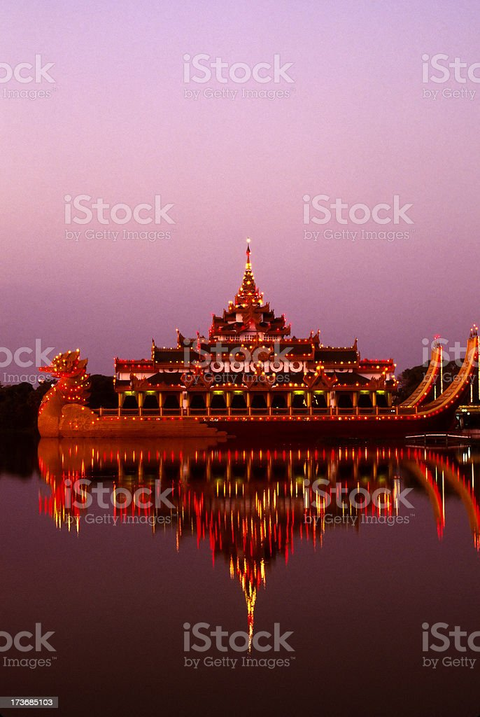 restaurant rangoon dusk stock photo