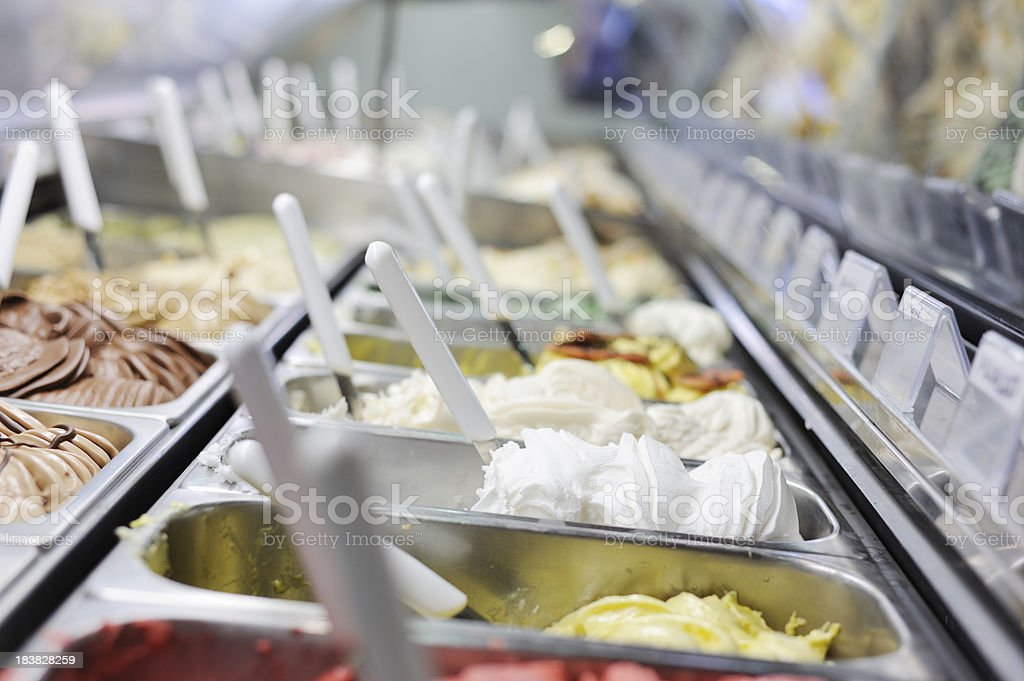 A restaurant refrigerator full of Italian ice creams stock photo