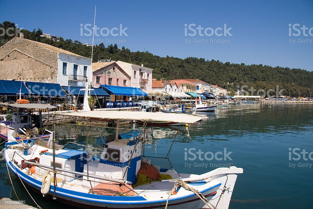 Restaurant Row on the Harbor at Katakolon Greece royalty-free stock photo
