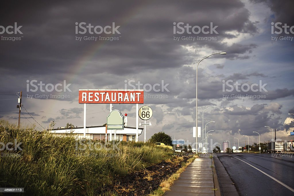 Restaurant sign along Route 66 stock photo