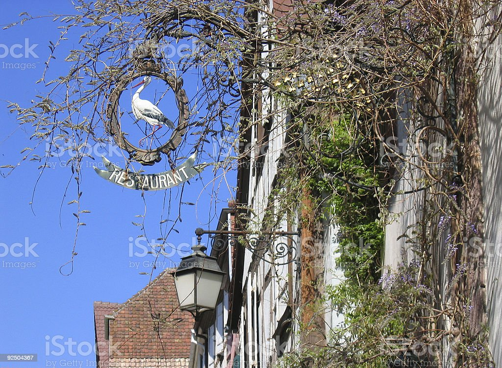 restaurant sign french street royalty-free stock photo