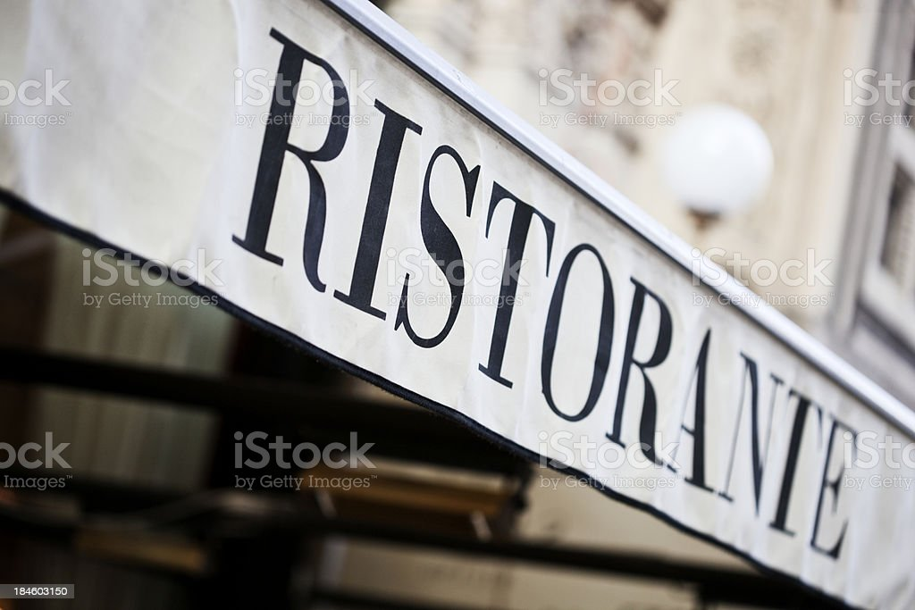 Restaurant sign in a canopy, Italian. royalty-free stock photo