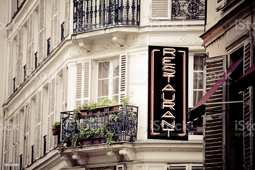 Restaurant Sign in Paris royalty-free stock photo