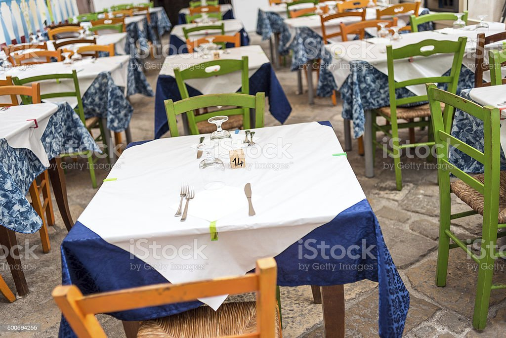 Restaurant table in Italy royalty-free stock photo