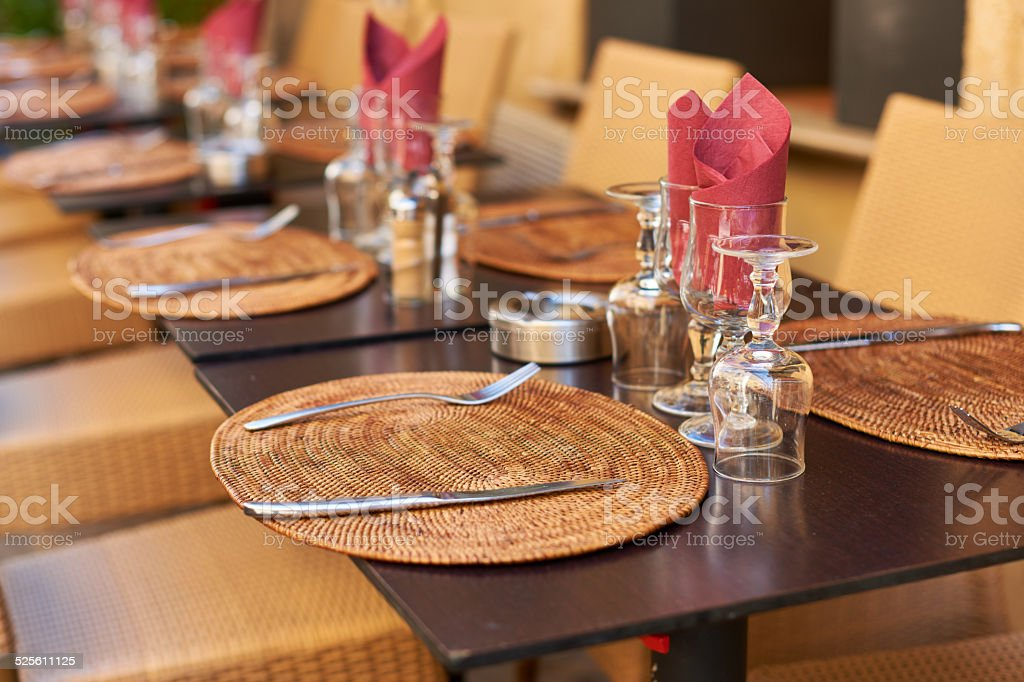 Restaurant table in Provence stock photo