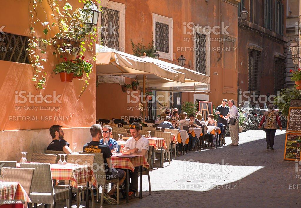 Restaurant table on the street. Rome stock photo