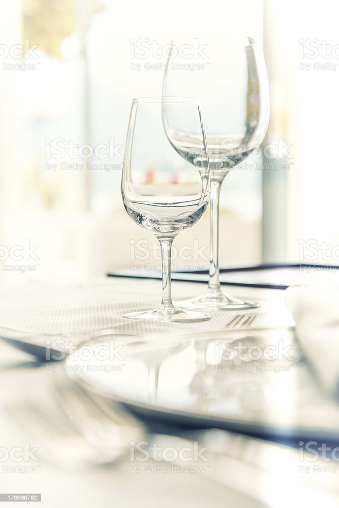Restaurant table setting royalty-free stock photo