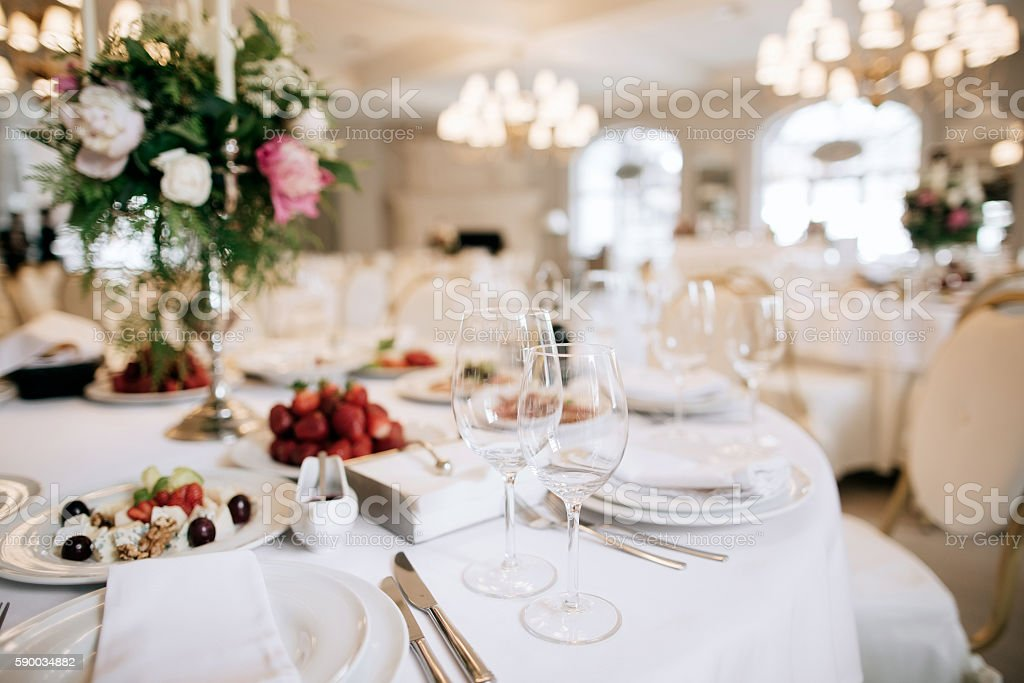Restaurant table with food stock photo