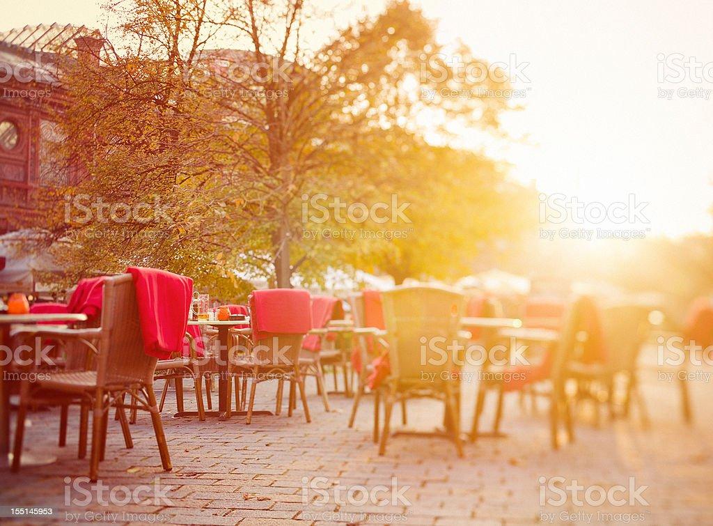 Restaurant Tables at Sunset, Berlin, Hackescher Markt royalty-free stock photo