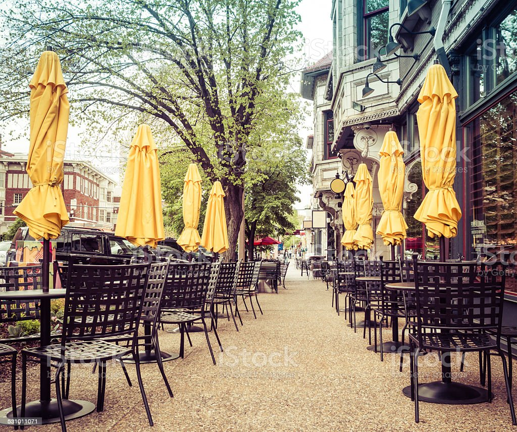 Restaurant tables chairs sidewalk alfresco stock photo