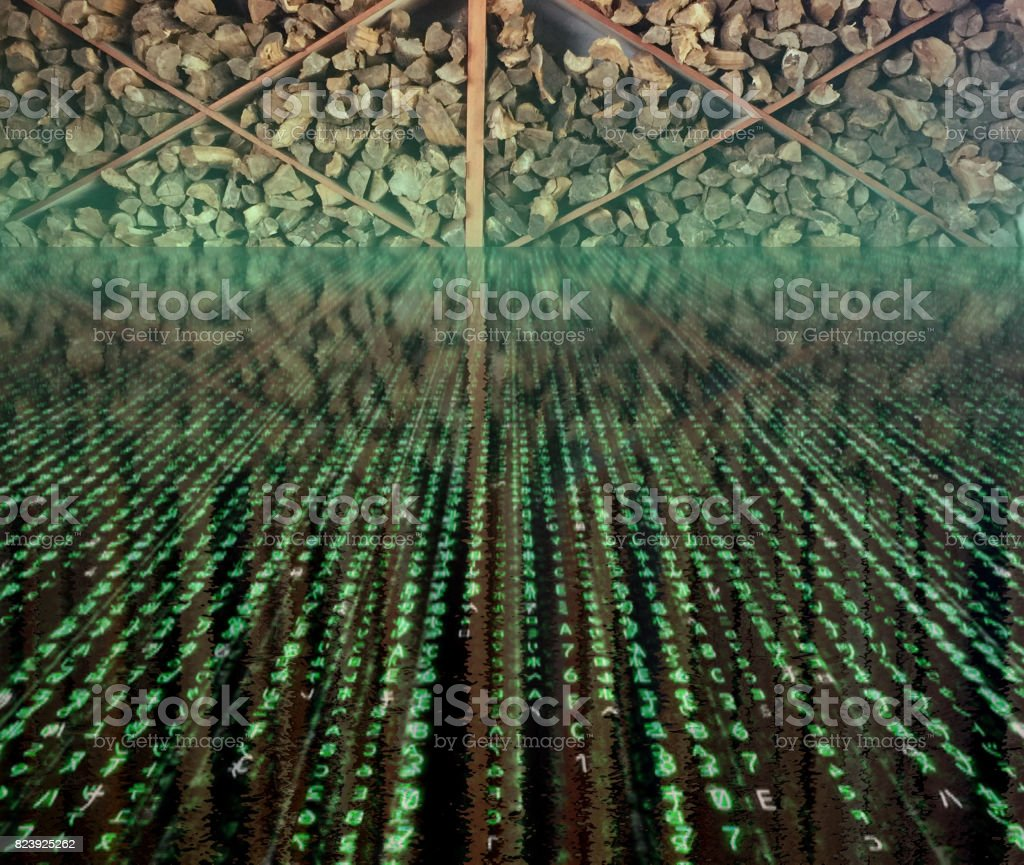 Restaurant tables/woodpile stock photo