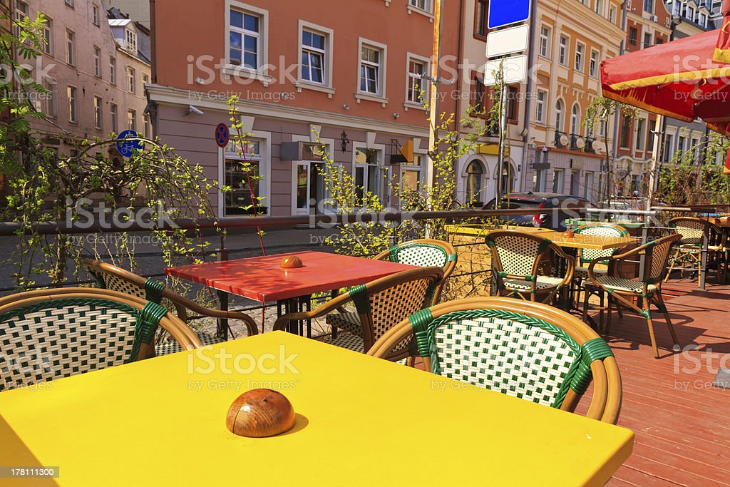 Restaurant Terrace on sunny day stock photo