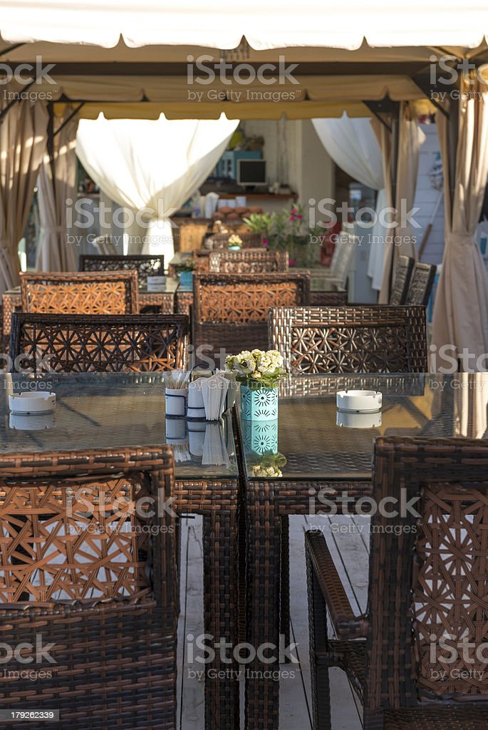 Restaurant with a panoramic beach view royalty-free stock photo