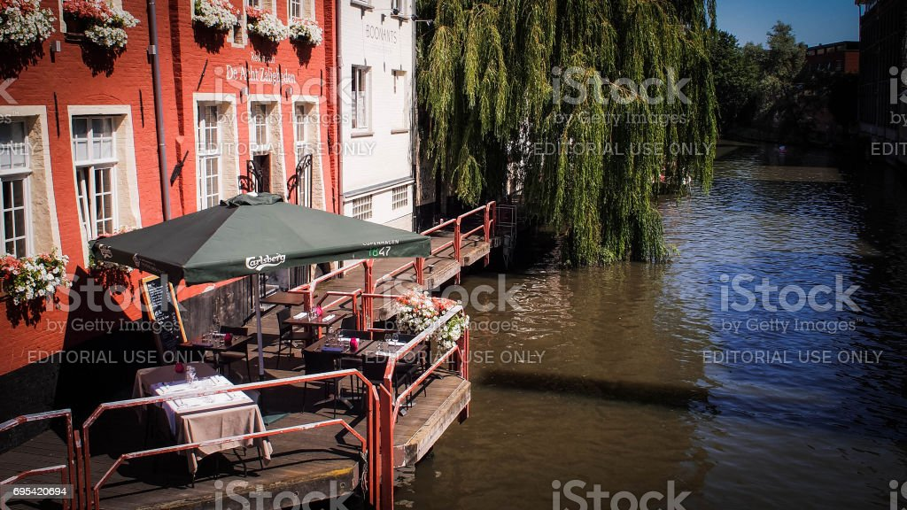 Restaurant with Balcony over the Canal stock photo