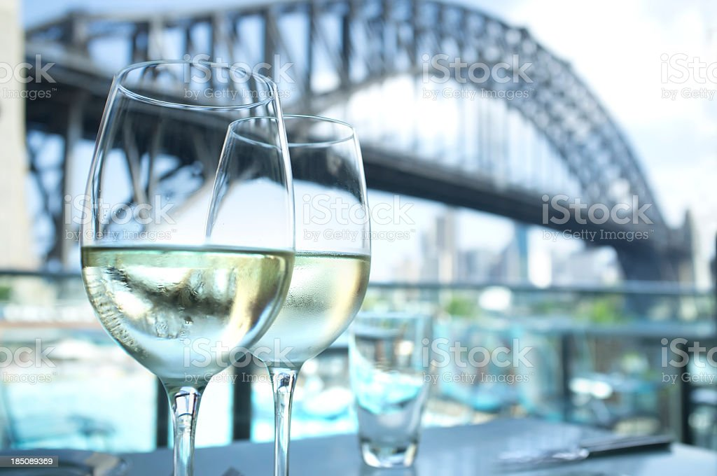 Restaurant with Sydney Harbour Bridge in the background royalty-free stock photo