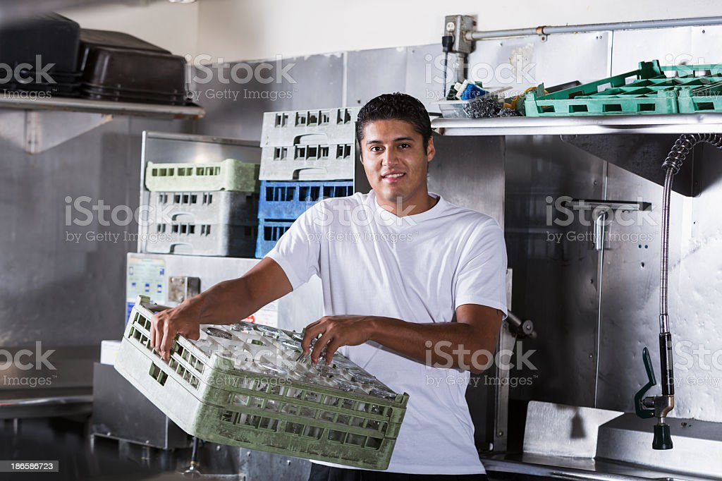 Restaurant worker in kitchen royalty-free stock photo