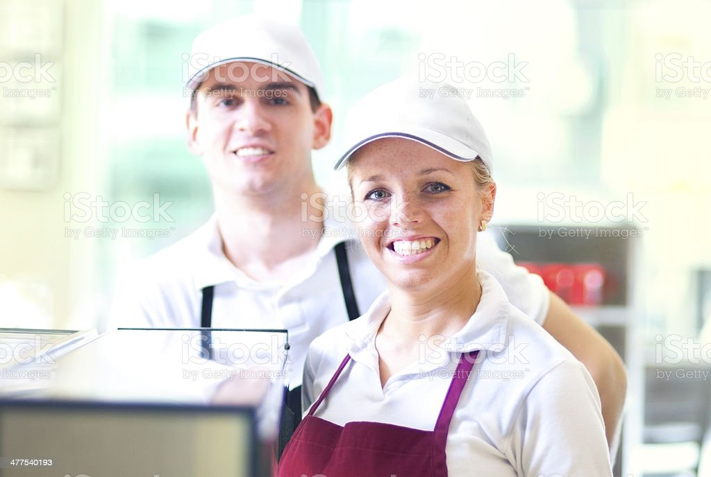 Restaurant workers stock photo