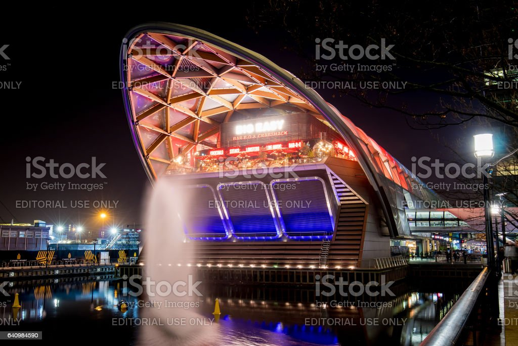 Restaurante in a new building at night during the Winter Lights show stock photo
