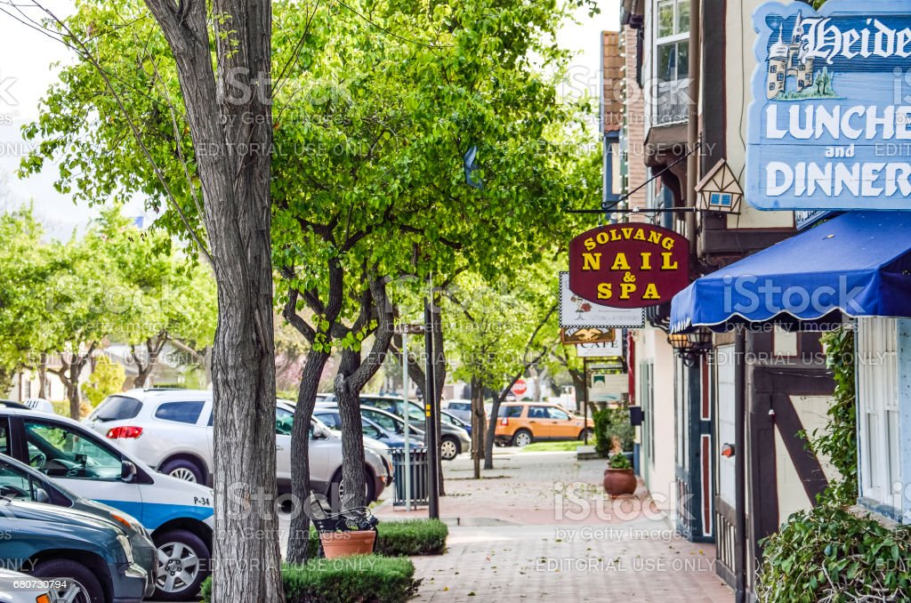 Restaurants and Nails and Spa stores in danish village in California in Santa Barbara County stock photo