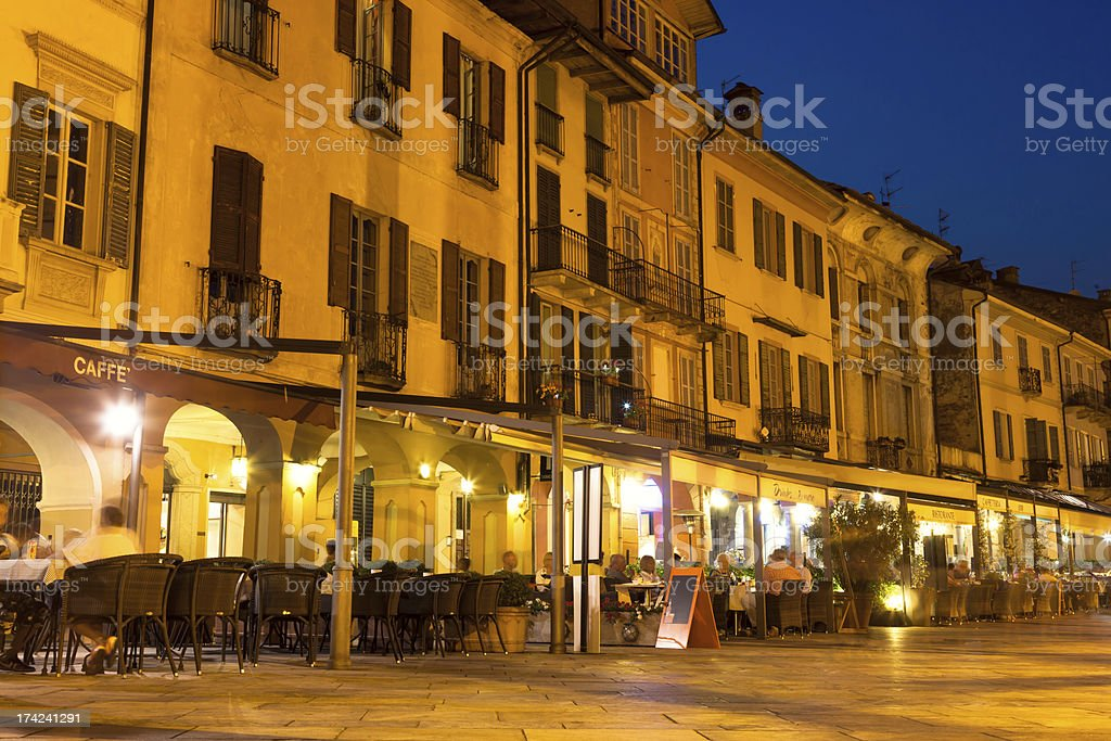Restaurants at Lake Maggiore, Italy royalty-free stock photo