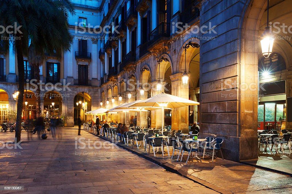 restaurants at Placa Reial. Barcelona stock photo