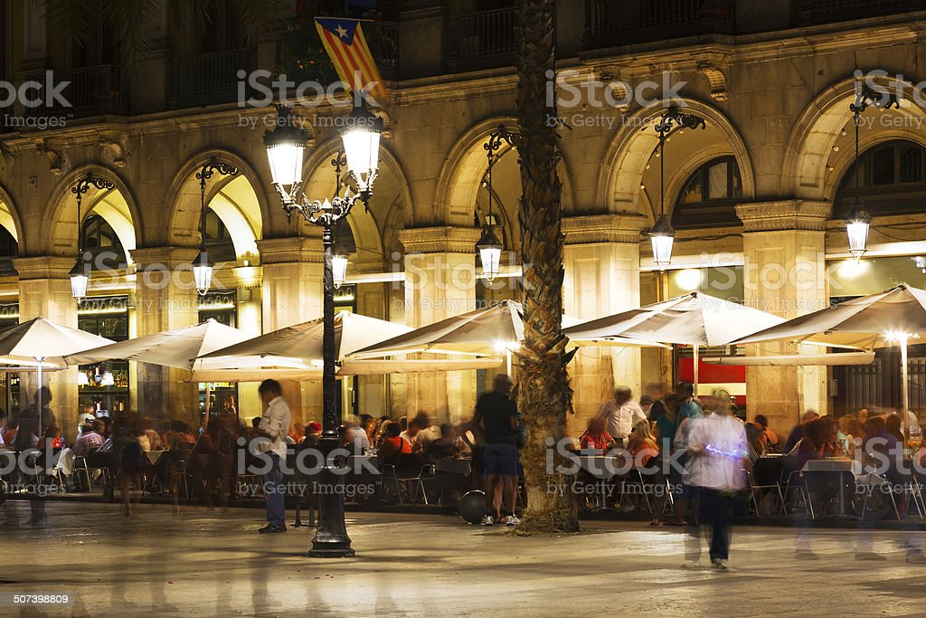 restaurants at Placa Reial in  night. Barcelona stock photo