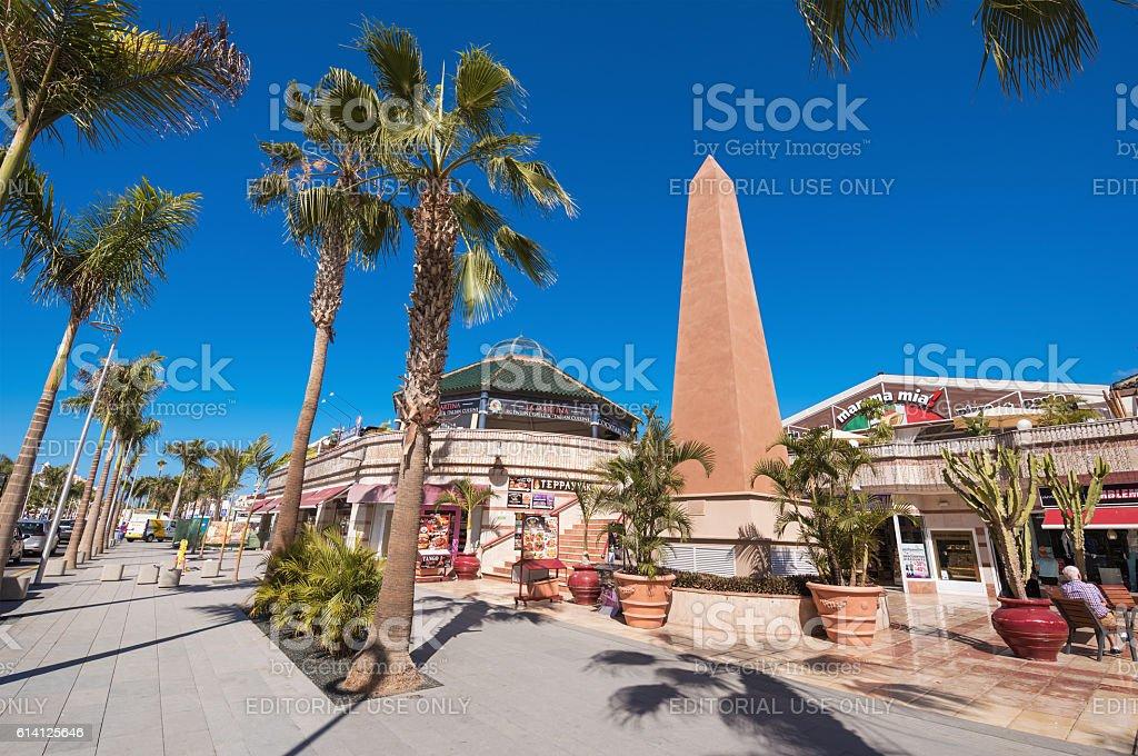 Restaurants in Las Americas in Tenerife South area. stock photo