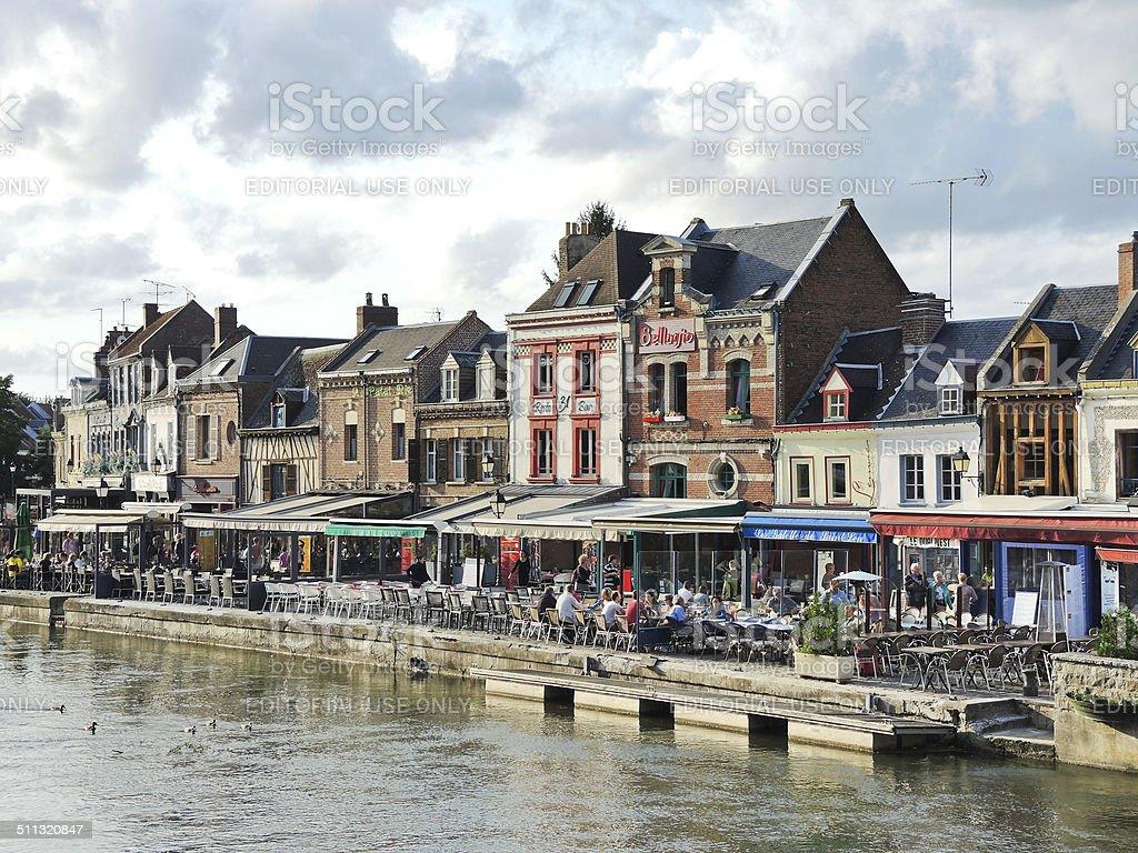 restaurants on Quai Belu in Amiens city stock photo