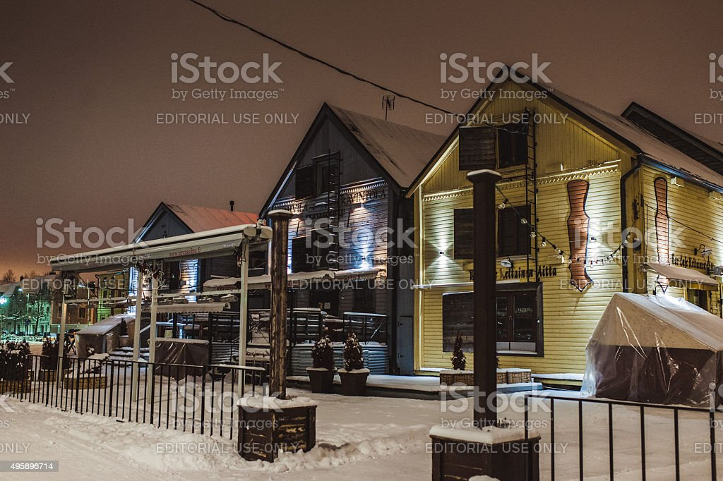 Restaurants on town square in Oulu Finland stock photo