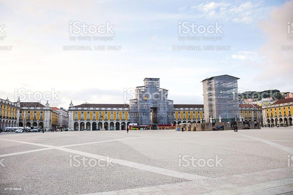 Restauration works - praça do Comércio in Lisbon royalty-free stock photo