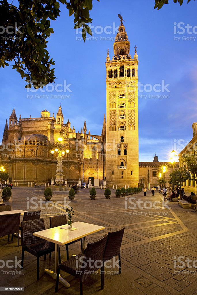 Restaurnt tables in front La Giralda royalty-free stock photo