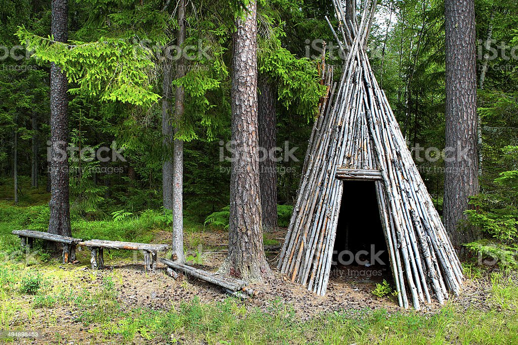restcabin in forest stock photo