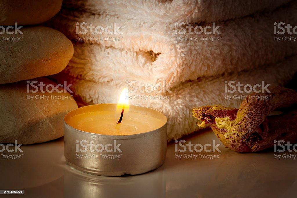 restful image of burning candle stock photo