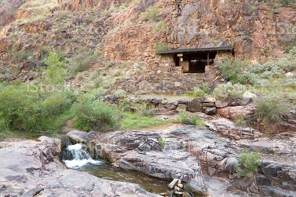 Resthouse near end of Bright Angle Trail in Grand Canyon stock photo