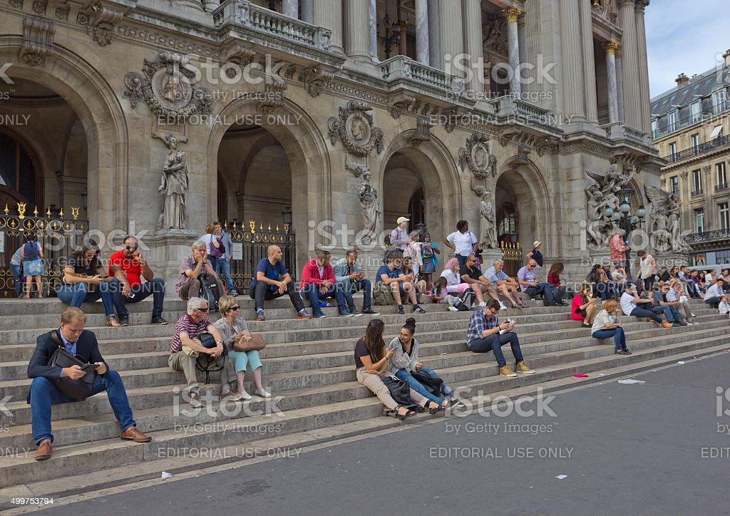 Restind tourists in Paris, France stock photo