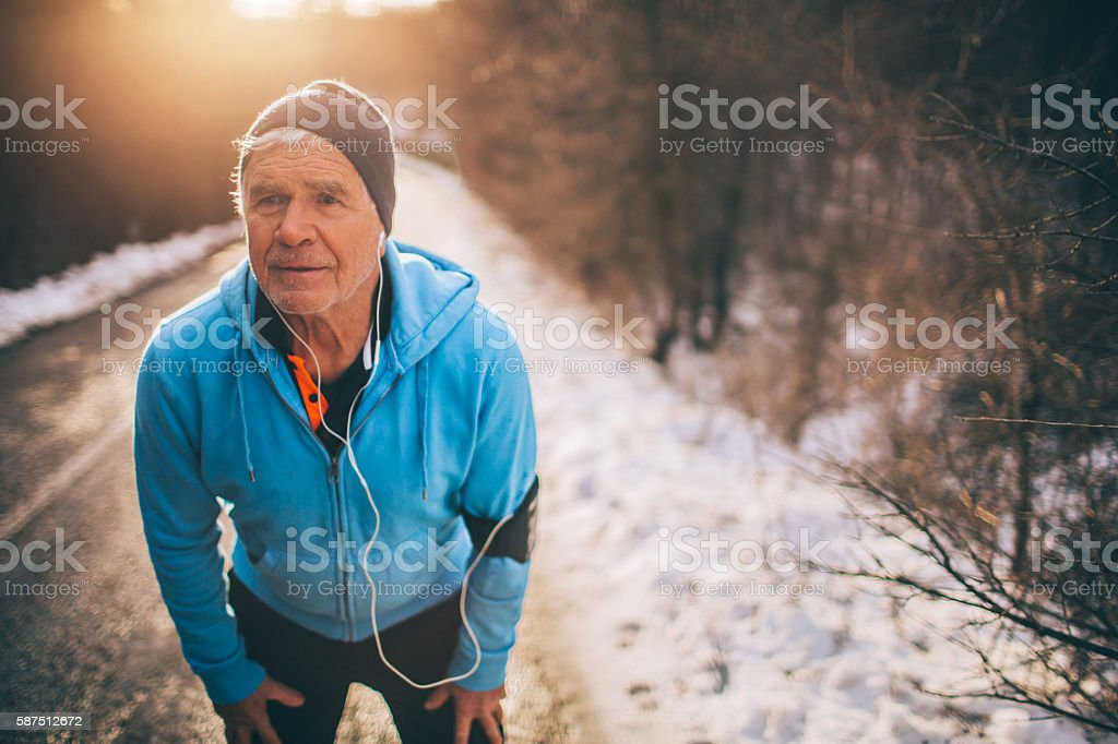 Resting after intense jog stock photo