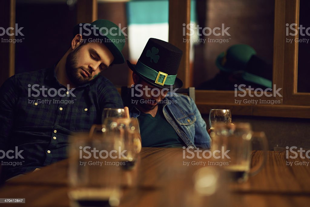 Resting after Irish party stock photo