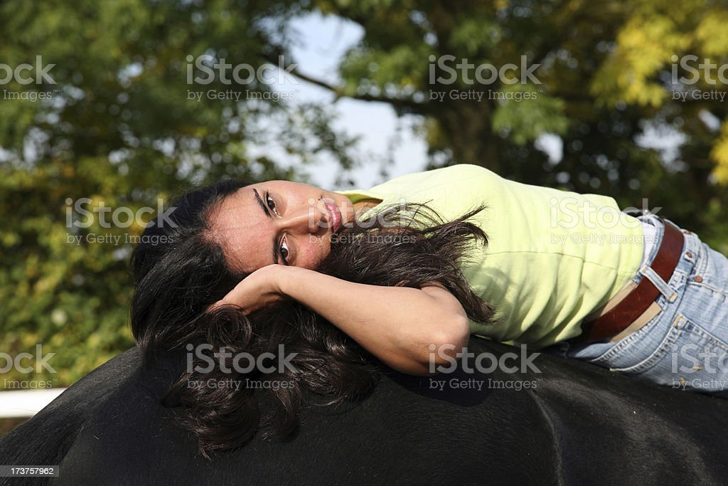 Resting after riding stock photo