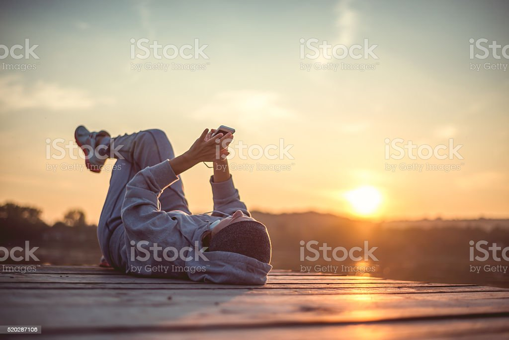 Resting and enjoy the sunset stock photo