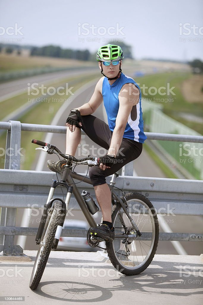 Resting biker royalty-free stock photo