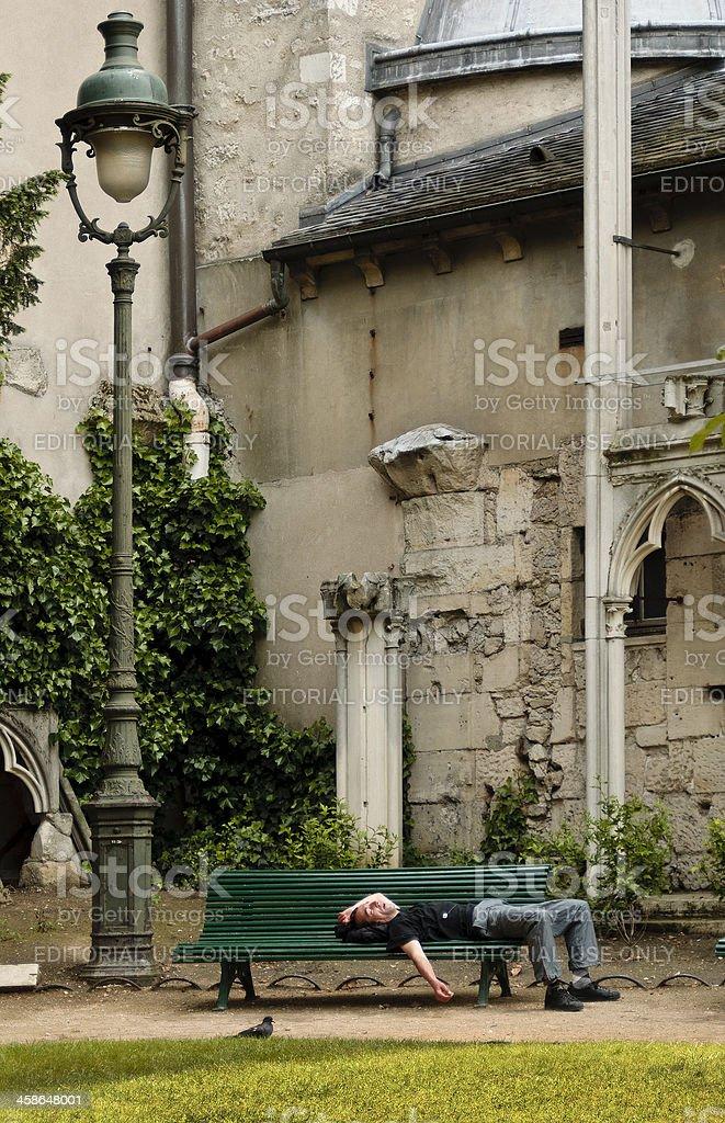 Resting, church of St. Germain des PrAs, Paris, France stock photo