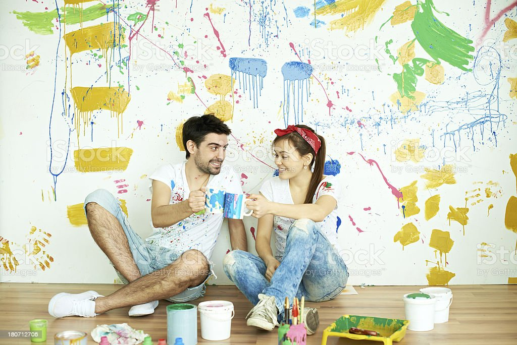 Resting during painting royalty-free stock photo