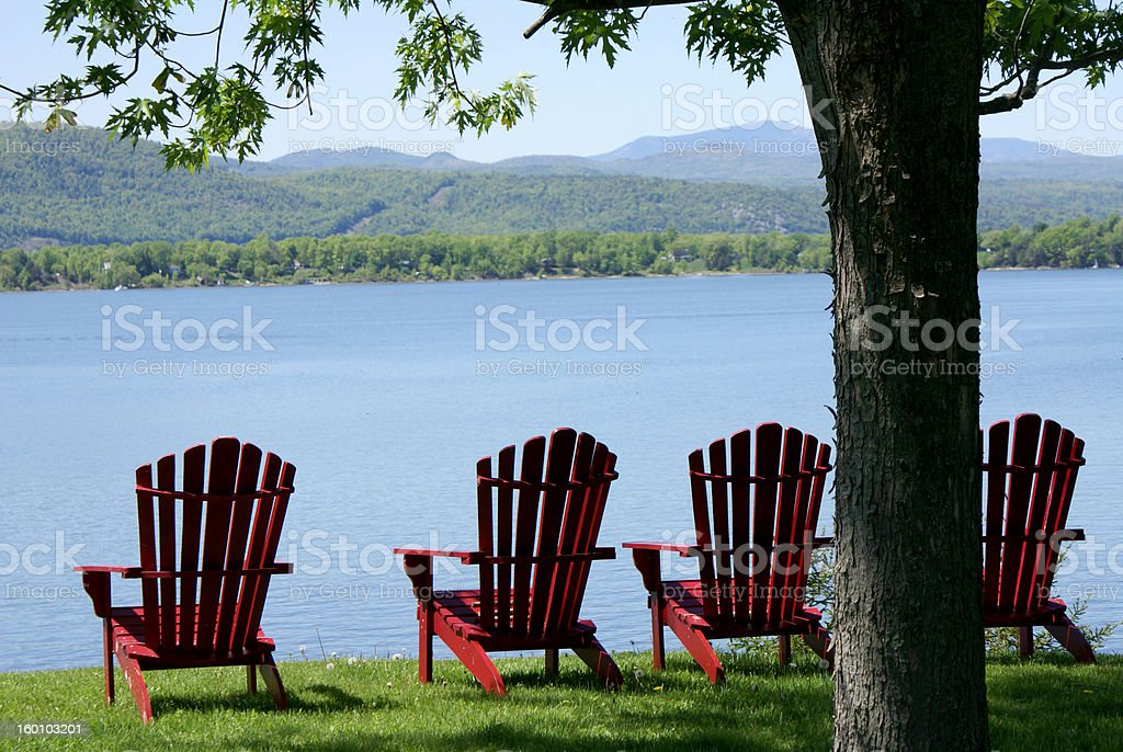 Resting in Adirondacks stock photo